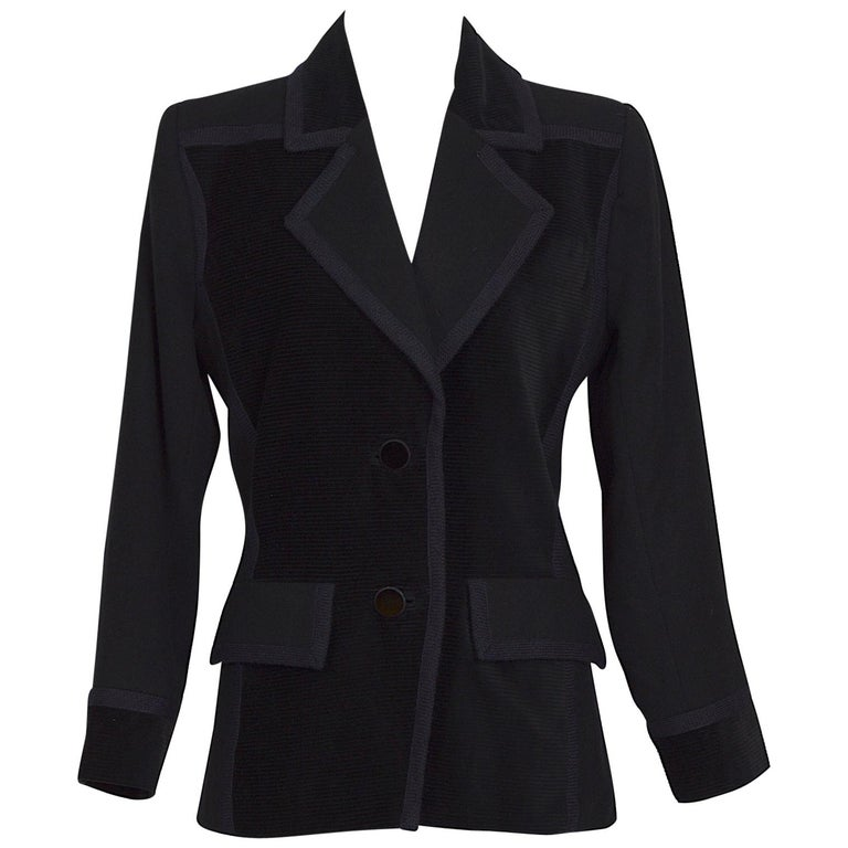 Yves Saint Laurent 1980s vintage black wool and velvet jacket For Sale