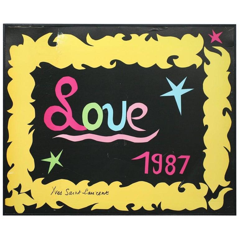 """Yves Saint Laurent 1987 """"LOVE"""" Poster For Sale"""