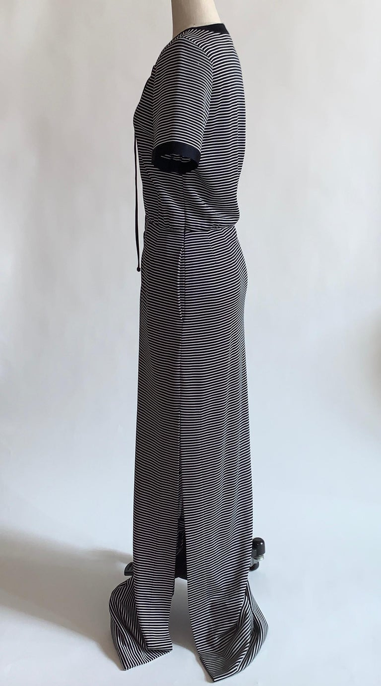 Black Yves Saint Laurent 1990s Navy Blue and White Stripe Lace Up Front Maxi Dress For Sale