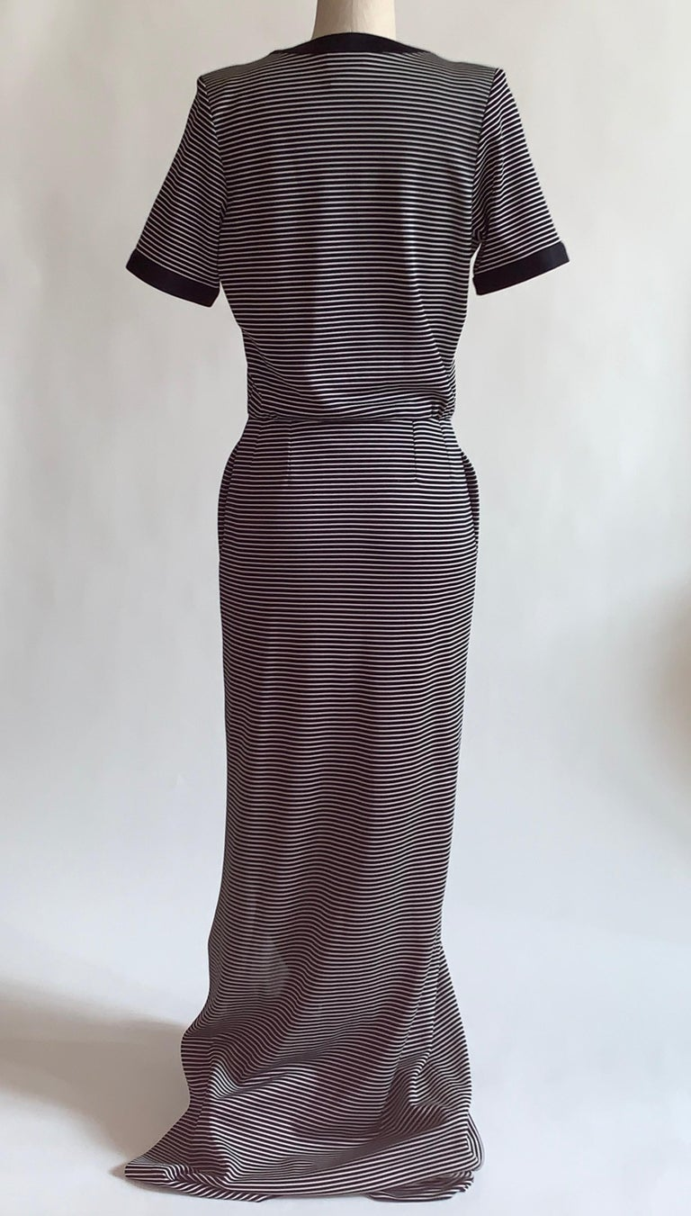 Yves Saint Laurent 1990s Navy Blue and White Stripe Lace Up Front Maxi Dress In Excellent Condition For Sale In San Francisco, CA