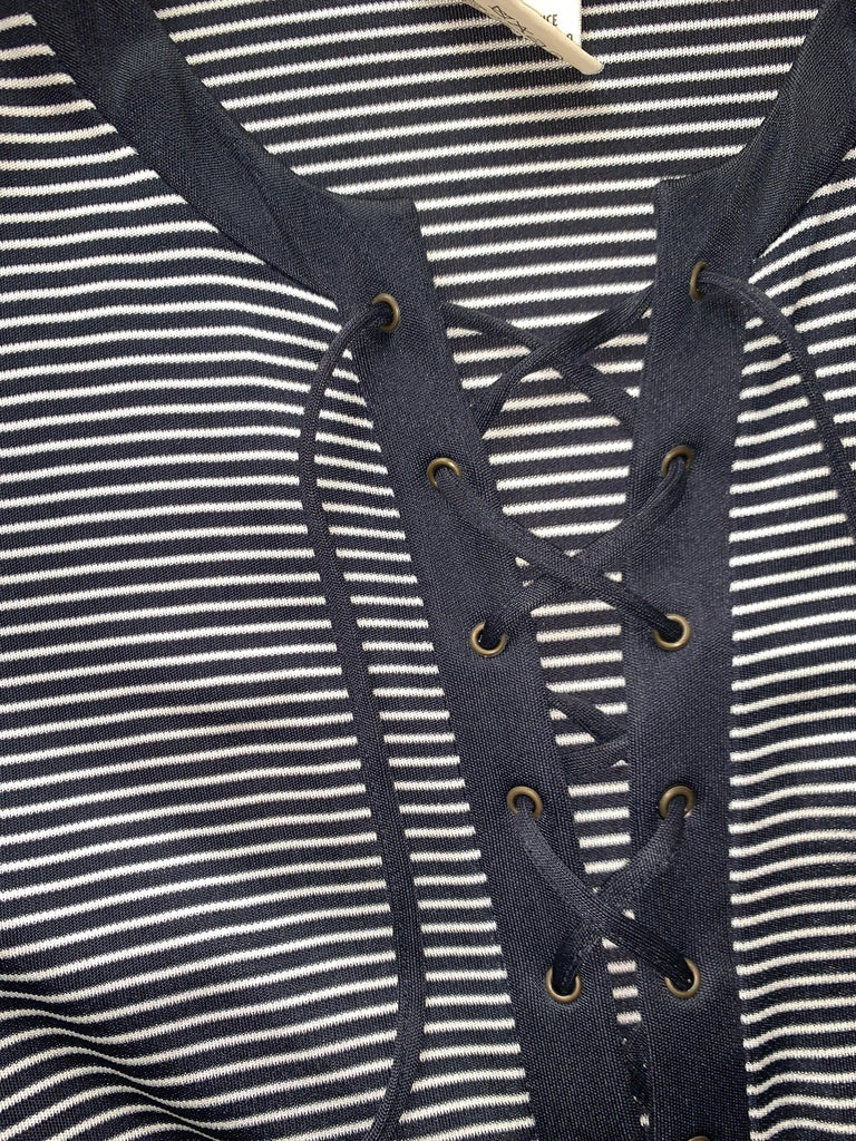 Women's Yves Saint Laurent 1990s Navy Blue and White Stripe Lace Up Front Maxi Dress For Sale