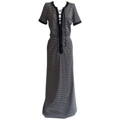 Yves Saint Laurent 1990s Navy Blue and White Stripe Lace Up Front Maxi Dress