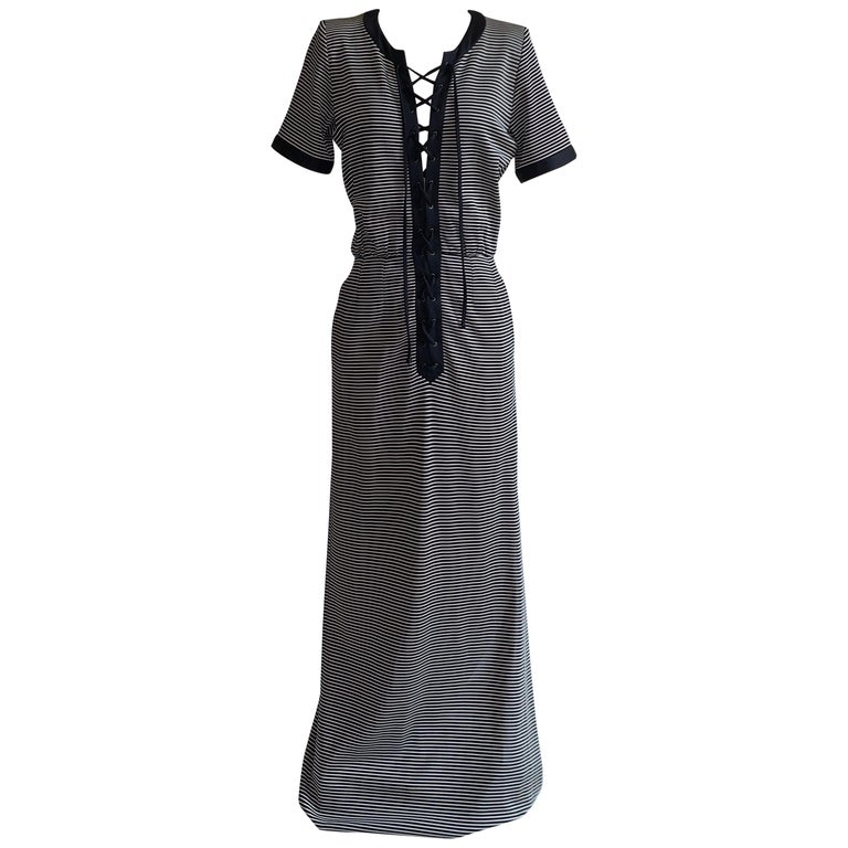 Yves Saint Laurent 1990s Navy Blue and White Stripe Lace Up Front Maxi Dress For Sale