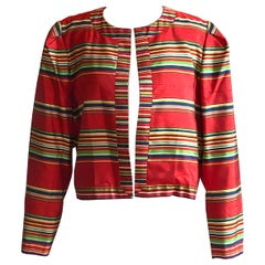 Yves Saint Laurent 1990s Silk Jacket in Red, Green, Blue and Yellow Stripe