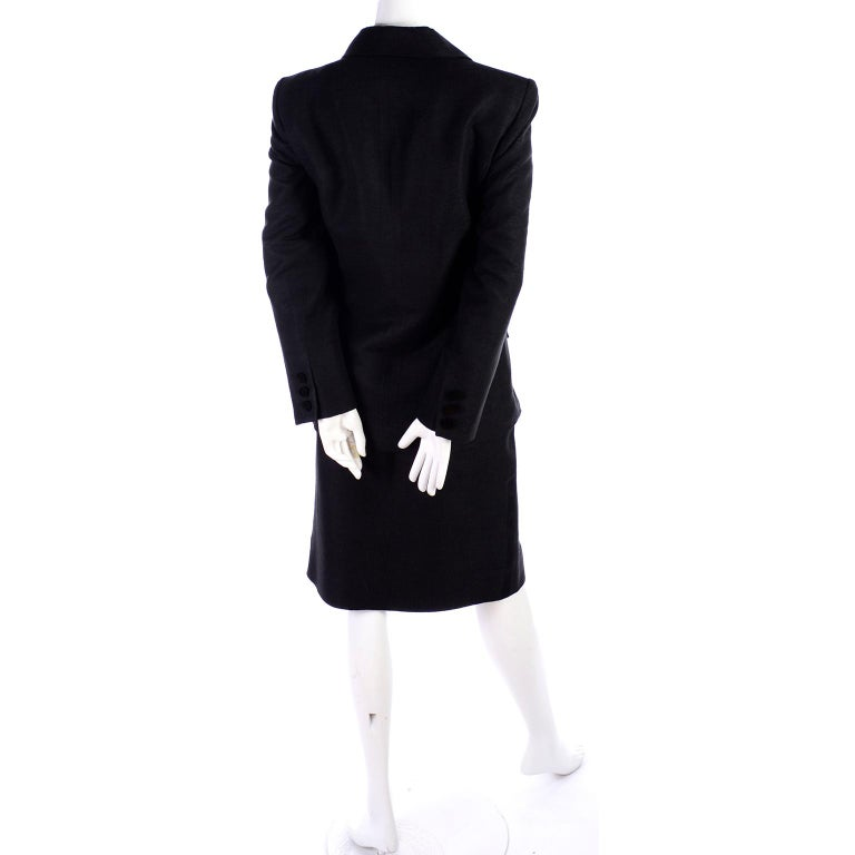 Women's Yves Saint Laurent 1990s Vintage Black Silk Skirt & Blazer Suit w/ Satin Lapels For Sale