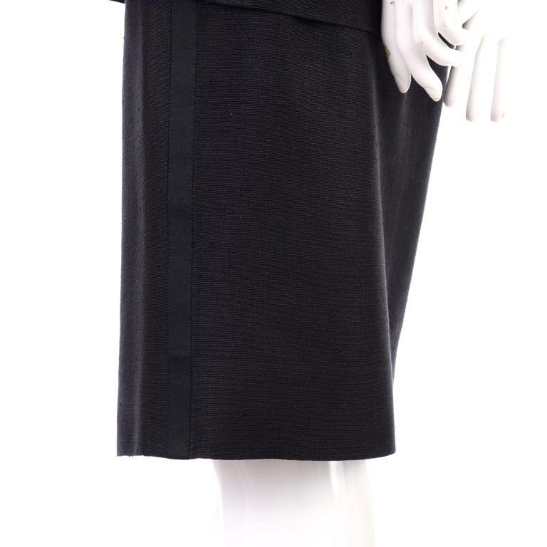 Yves Saint Laurent 1990s Vintage Black Silk Skirt & Blazer Suit w/ Satin Lapels For Sale 1