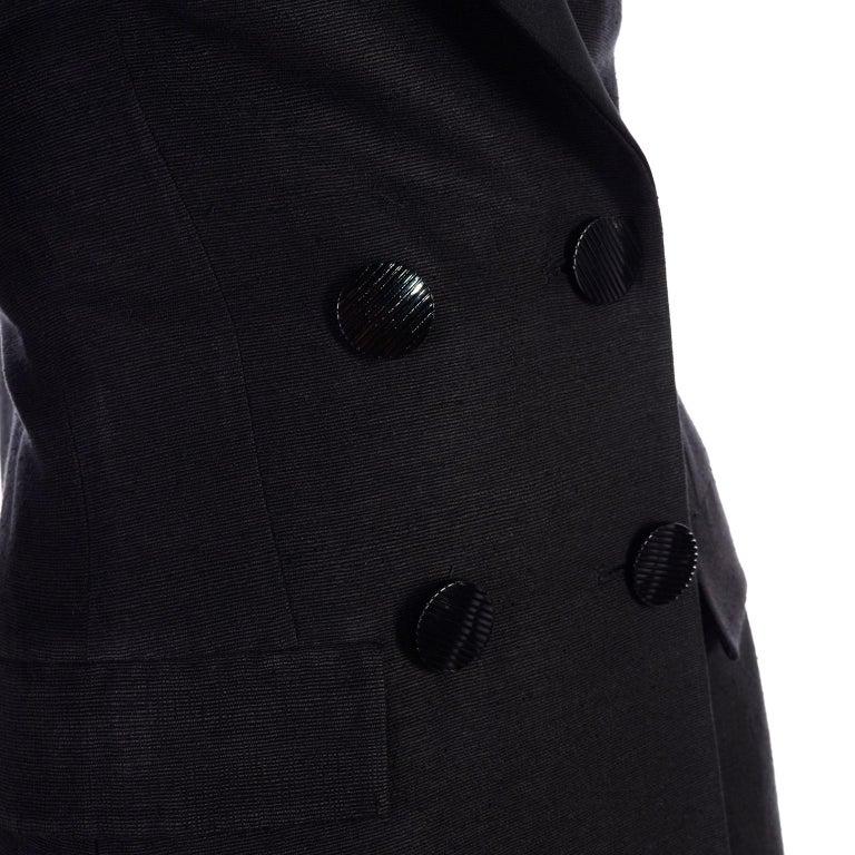 Yves Saint Laurent 1990s Vintage Black Silk Skirt & Blazer Suit w/ Satin Lapels For Sale 2