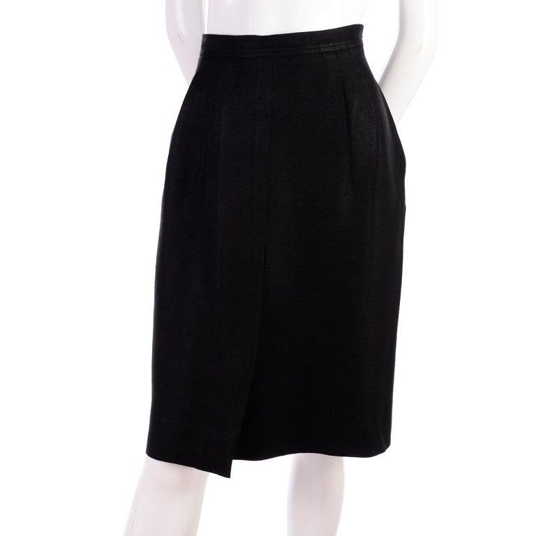 Yves Saint Laurent 1990s Vintage Black Silk Skirt & Blazer Suit w/ Satin Lapels For Sale 3