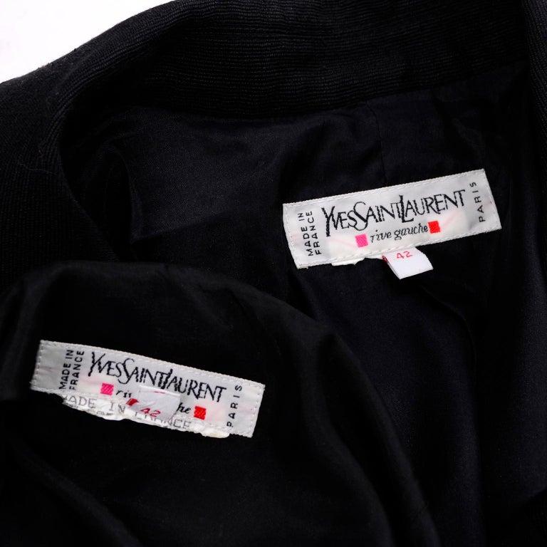 Yves Saint Laurent 1990s Vintage Black Silk Skirt & Blazer Suit w/ Satin Lapels For Sale 4