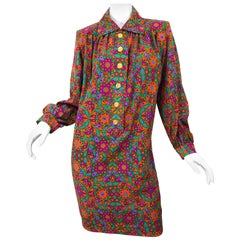 Yves Saint Laurent 1990s Wool Challis Flower Print Vintage 90s Smock Dress