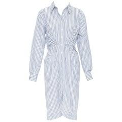 YVES SAINT LAURENT 2008 blue white striped gathered waist shirt dress FR40