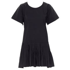 YVES SAINT LAURENT 2010 black pleated skirt side slit tunic dress EU39 / 15.5
