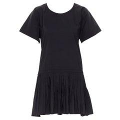YVES SAINT LAURENT 2010 black pleated skirt side slit tunic dress EU39 / 15.5