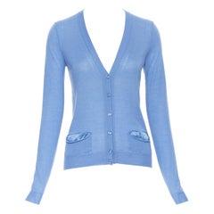 YVES SAINT LAURENT 2010 cashmere silk blue pocket logo knit V-neck cardigan XS