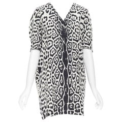 YVES SAINT LAURENT 2012 100% silk black white leopard spot casual dress FR38