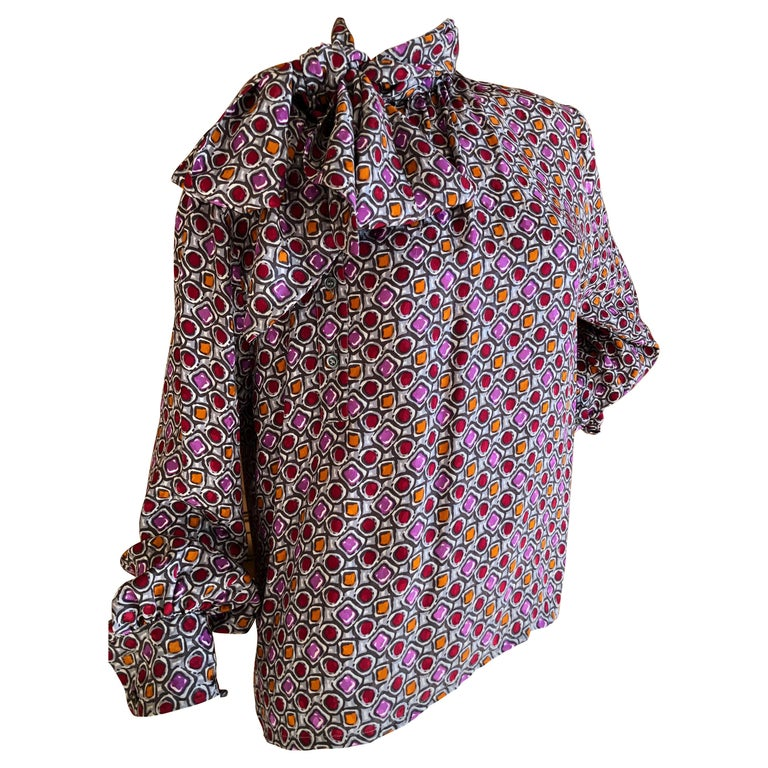 cb91857c48d758 Yves Saint Laurent 70's Rive Gauche Cabachon Pattern Blouse with Side Pussy  Bow For Sale