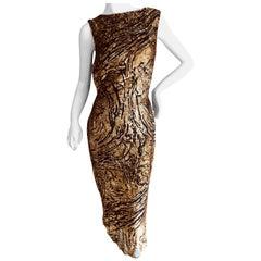 Yves Saint Laurent 70's Rive Gauche Gold Lurex Devore Velvet Dress
