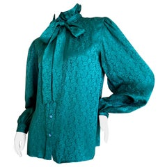 b865c97e54347d Yves Saint Laurent 70's Rive Gauche Green Silk Paisley Blouse with Pussy Bow