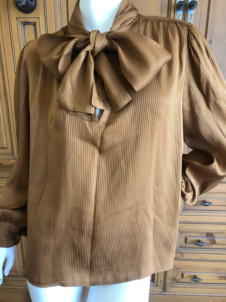 30cce88564419e Brown Yves Saint Laurent 70's Rive Gauche Pin Tuck Silk Keyhole Blouse w Pussy  Bow For