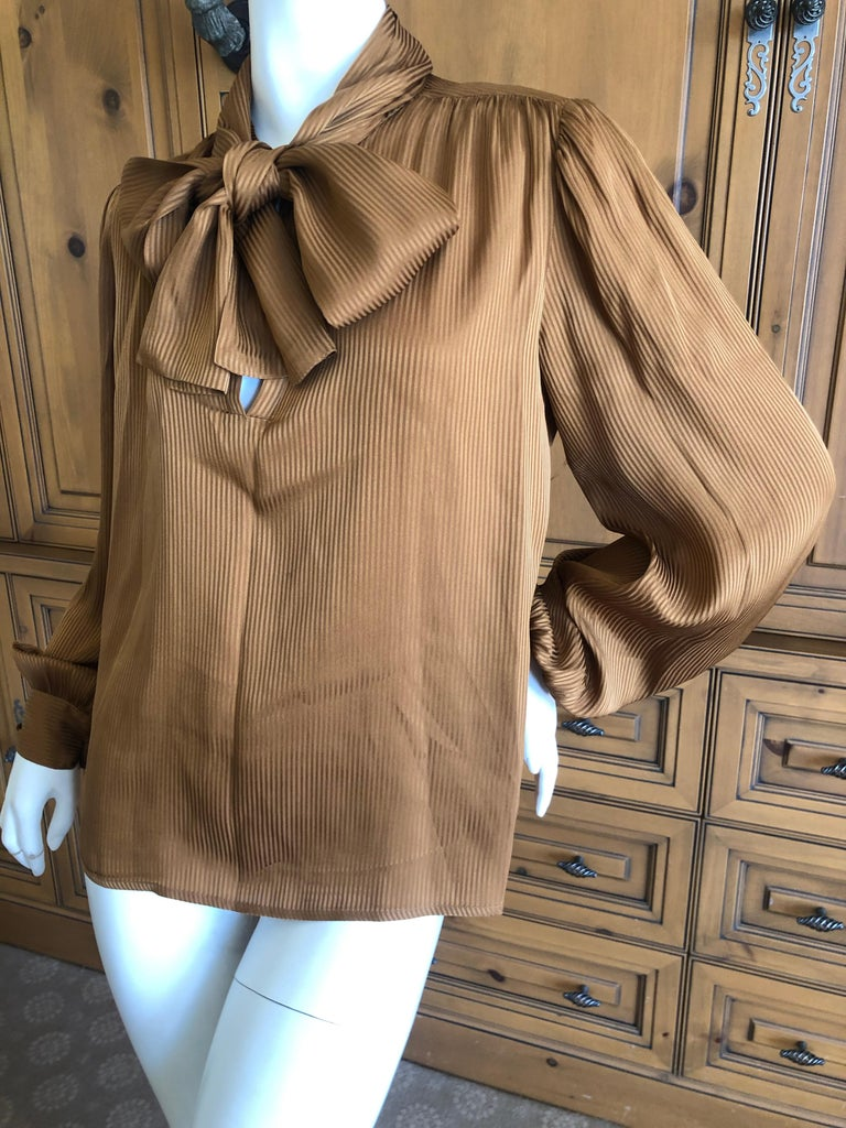 7f1415ae6daf89 Women's Yves Saint Laurent 70's Rive Gauche Pin Tuck Silk Keyhole Blouse w Pussy  Bow For