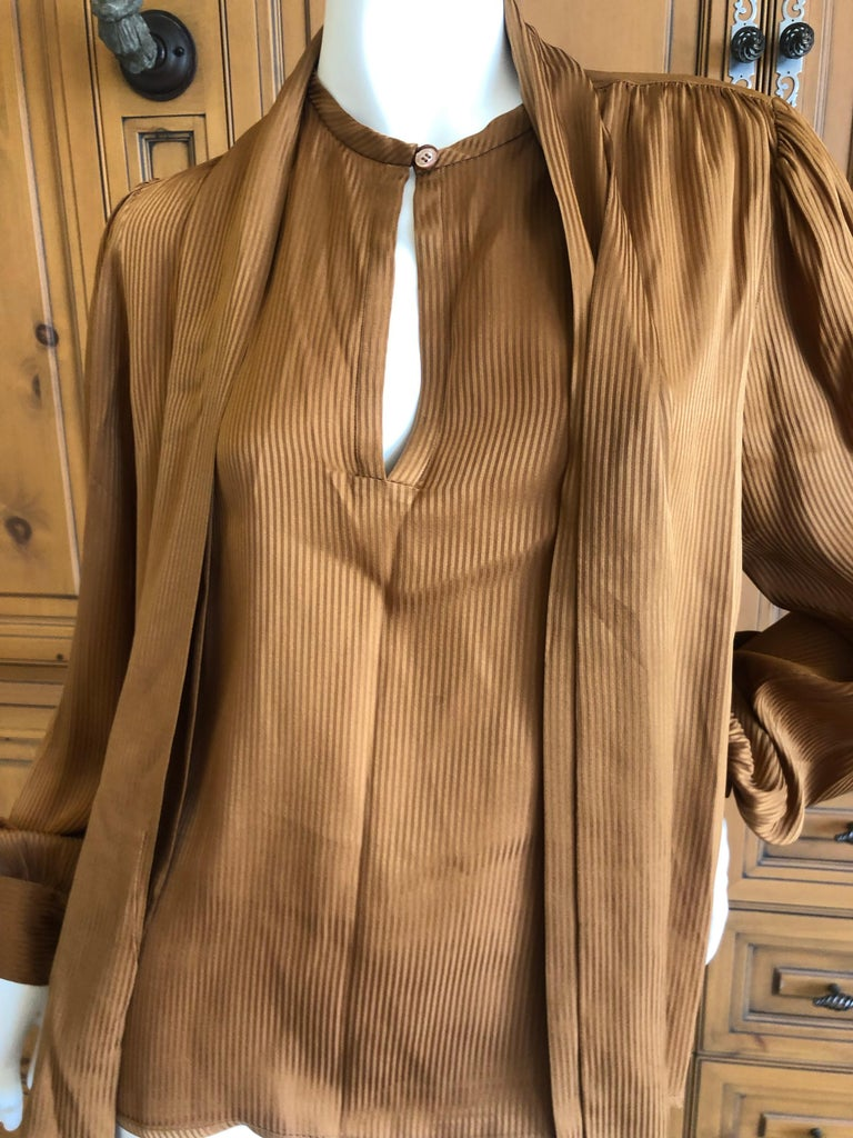 fdd5d5b5a7111d Yves Saint Laurent 70's Rive Gauche Pin Tuck Silk Keyhole Blouse w Pussy  Bow For Sale