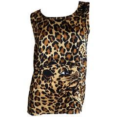 Yves Saint Laurent 70's Rive Gauche Silk Leopard Pattern Sleeveless Summer Top