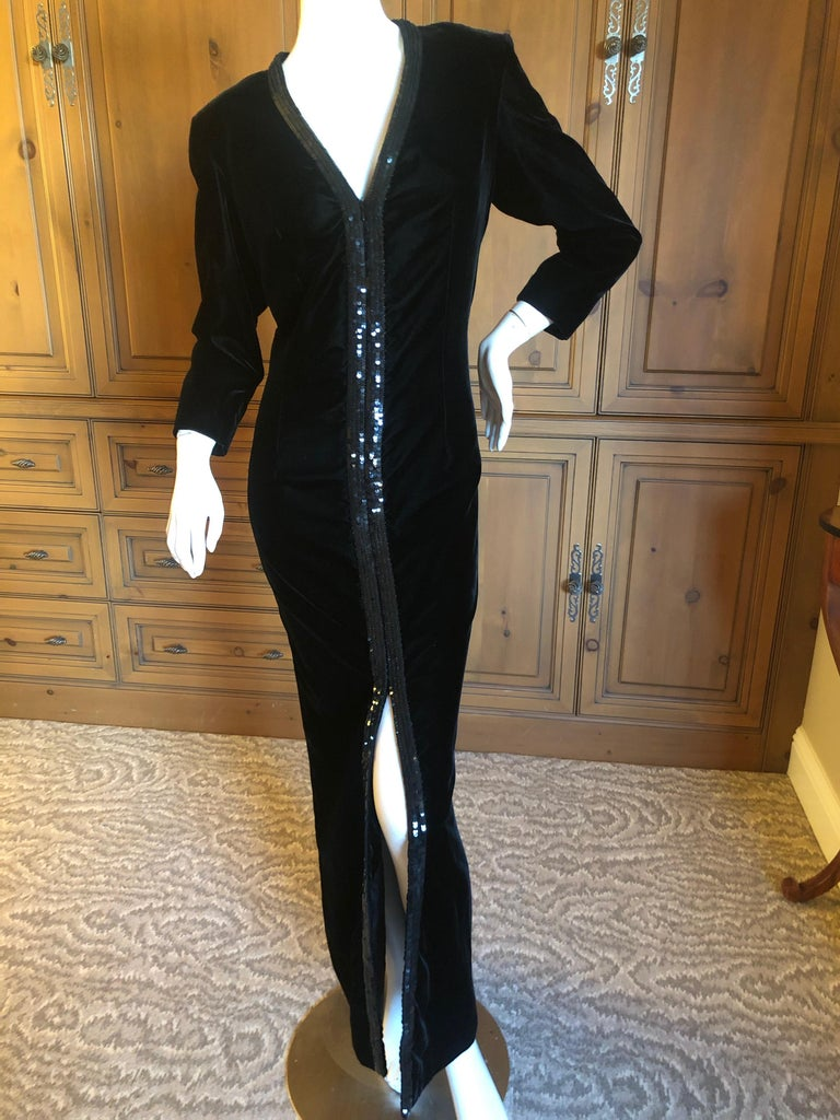Yves Saint Laurent 70's Rive Gauche Velvet Evening Dress w Sequins & High Slit  Size 42 Bust 42