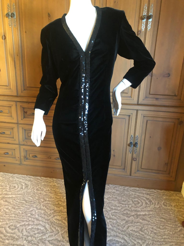 Yves Saint Laurent 70's Rive Gauche Velvet Evening Dress w Sequins & High Slit In Excellent Condition In San Francisco, CA
