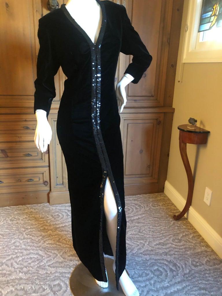 Women's Yves Saint Laurent 70's Rive Gauche Velvet Evening Dress w Sequins & High Slit For Sale