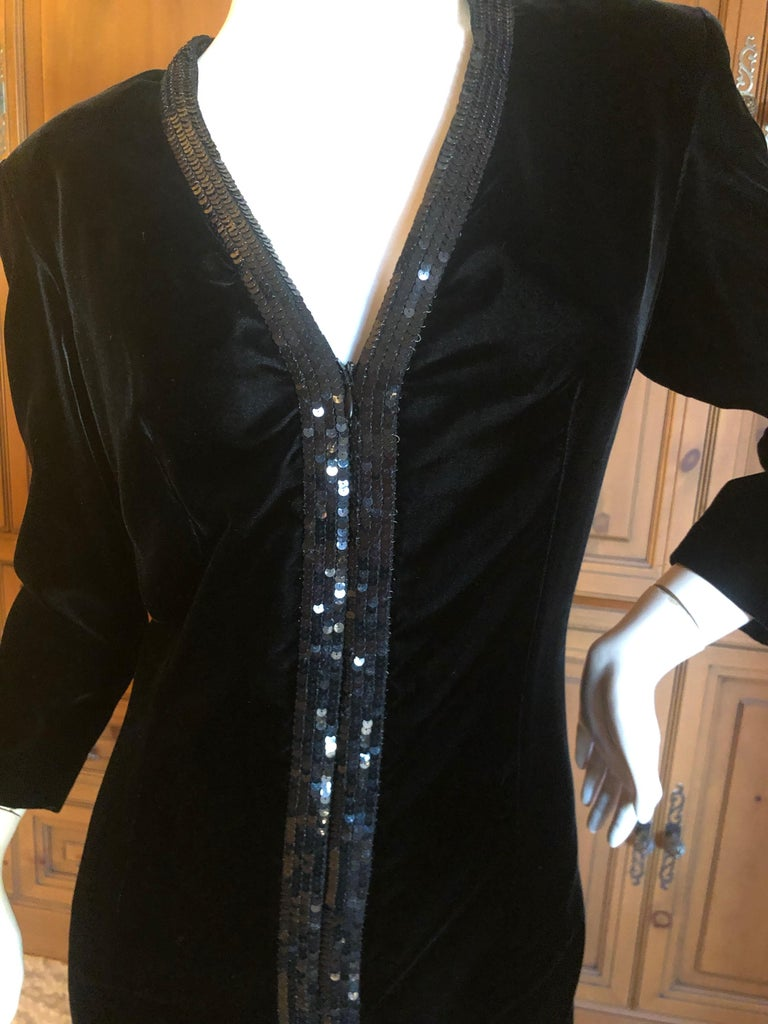 Yves Saint Laurent 70's Rive Gauche Velvet Evening Dress w Sequins & High Slit For Sale 1
