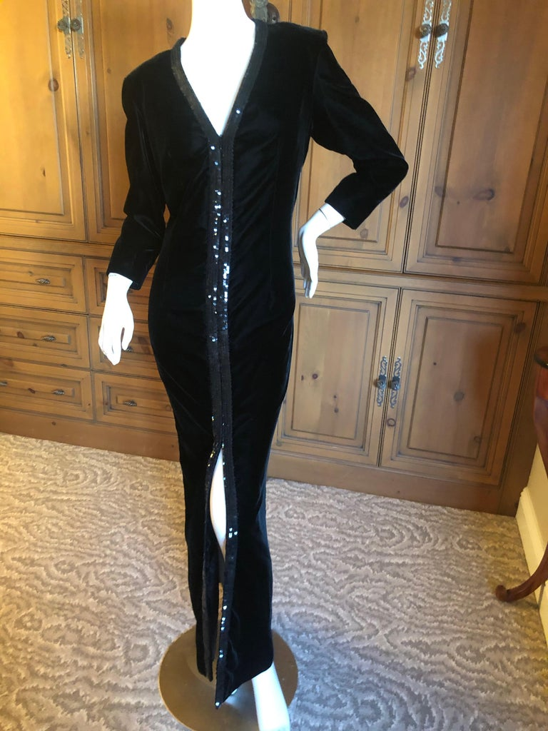 Yves Saint Laurent 70's Rive Gauche Velvet Evening Dress w Sequins & High Slit 2