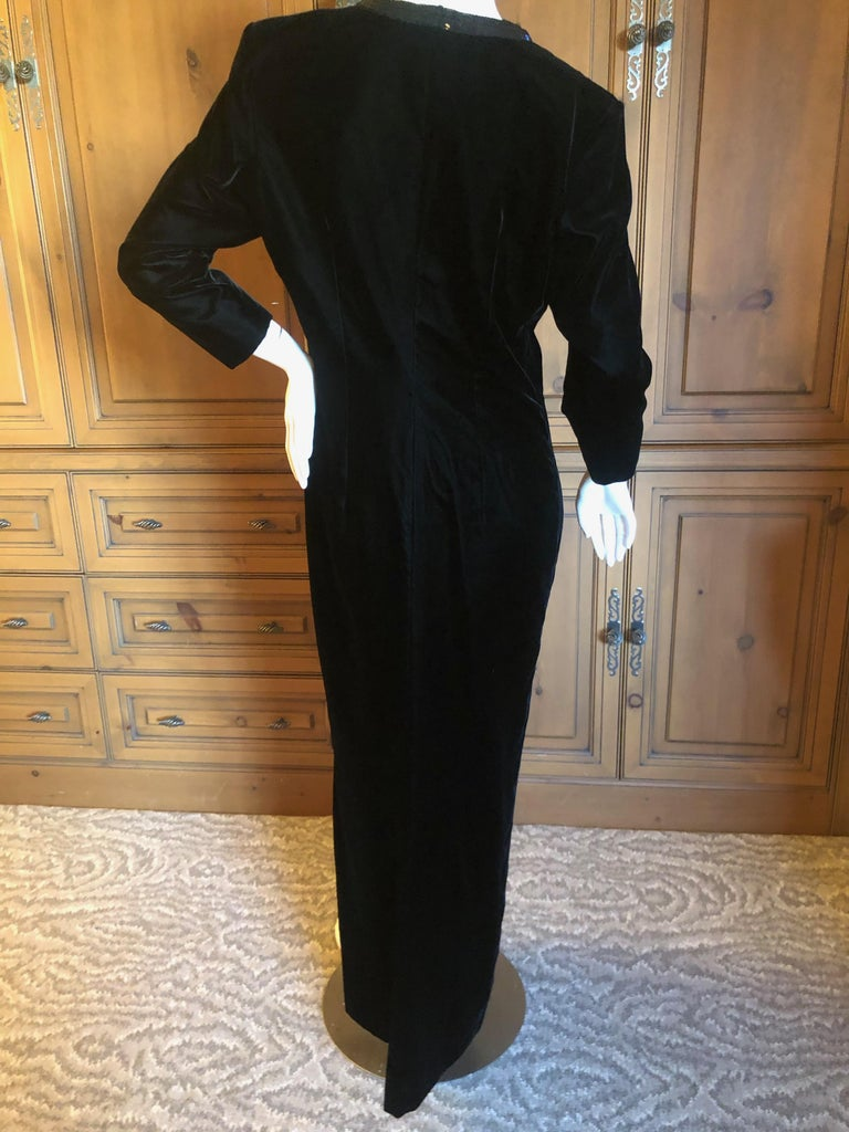 Yves Saint Laurent 70's Rive Gauche Velvet Evening Dress w Sequins & High Slit 3