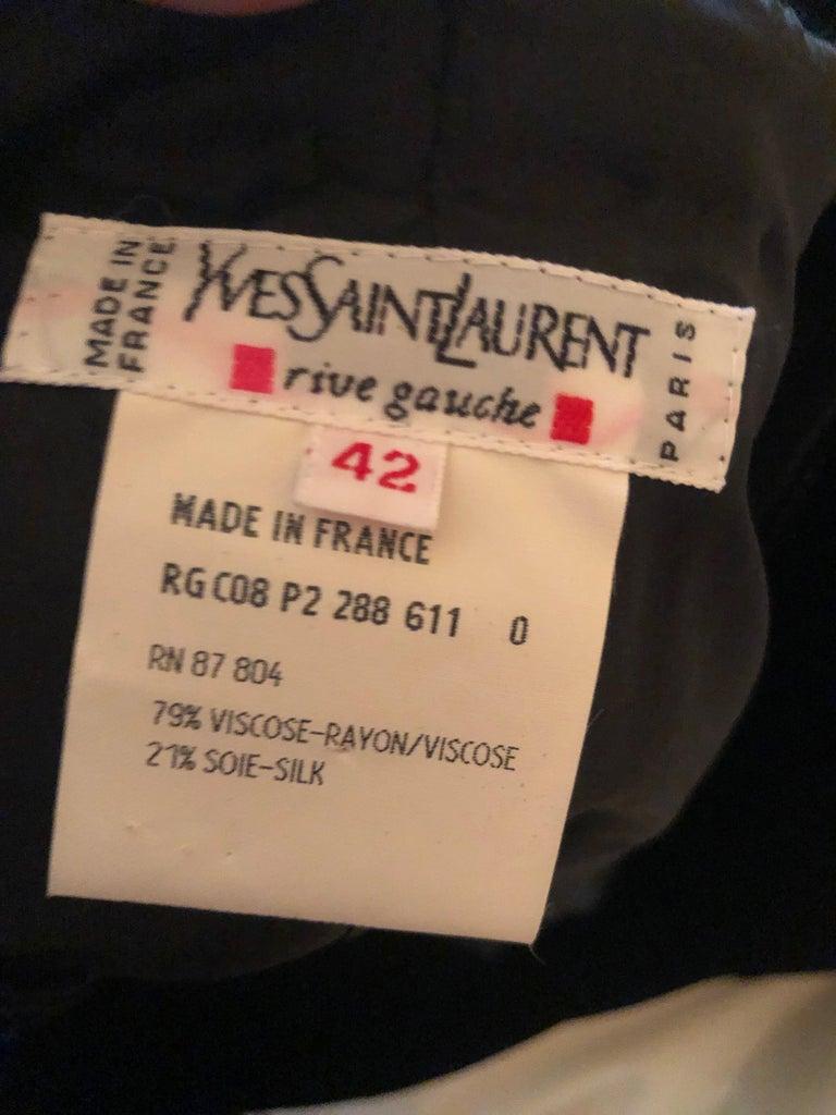 Yves Saint Laurent 70's Rive Gauche Velvet Evening Dress w Sequins & High Slit For Sale 4