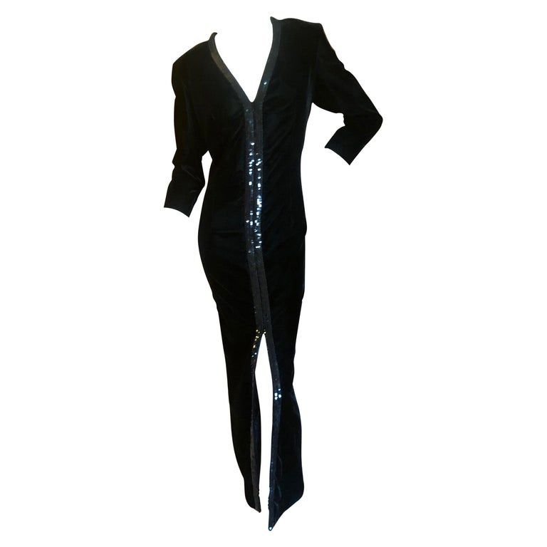 Yves Saint Laurent 70's Rive Gauche Velvet Evening Dress w Sequins & High Slit