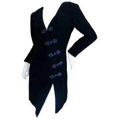 Yves Saint Laurent 70's Rive Gauche Velvet Mini Dress w Diagonal Frog Closure