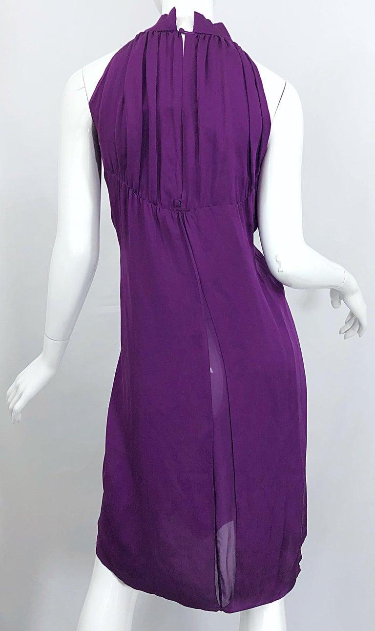 Yves Saint Laurent A / W 2007 Purple Silk Size 40 / US 8 YSL Rive Gauche Dress For Sale 6