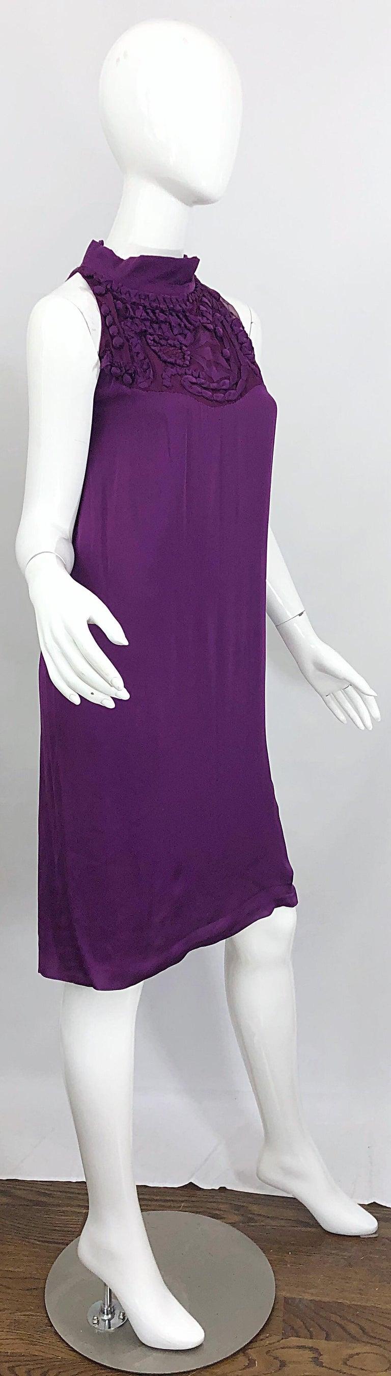 Yves Saint Laurent A / W 2007 Purple Silk Size 40 / US 8 YSL Rive Gauche Dress For Sale 7