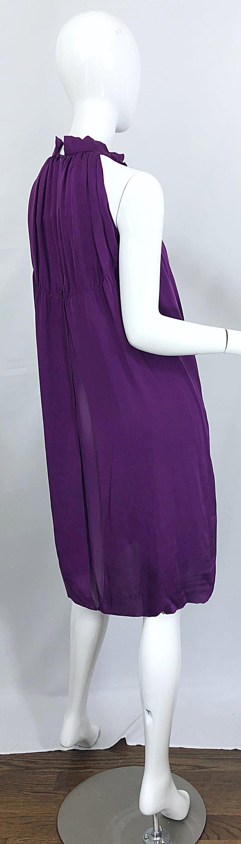 Yves Saint Laurent A / W 2007 Purple Silk Size 40 / US 8 YSL Rive Gauche Dress For Sale 8
