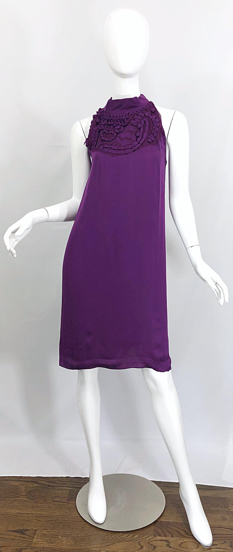 Yves Saint Laurent A / W 2007 Purple Silk Size 40 / US 8 YSL Rive Gauche Dress For Sale 9