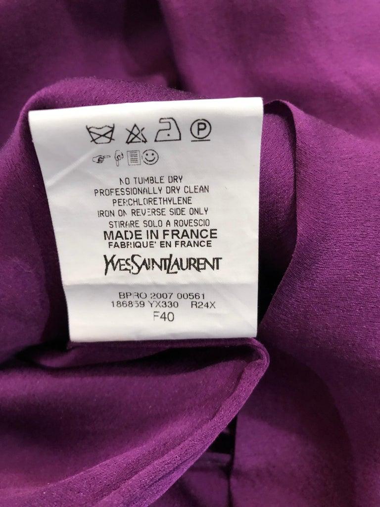 Yves Saint Laurent A / W 2007 Purple Silk Size 40 / US 8 YSL Rive Gauche Dress For Sale 11