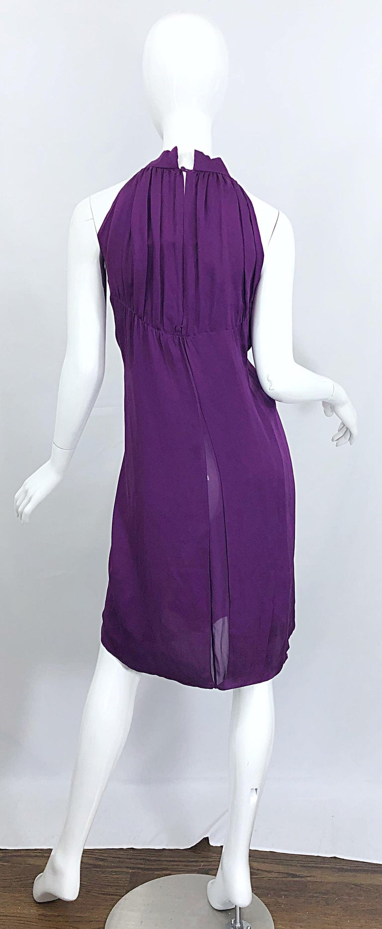 Yves Saint Laurent A / W 2007 Purple Silk Size 40 / US 8 YSL Rive Gauche Dress In Excellent Condition For Sale In Chicago, IL