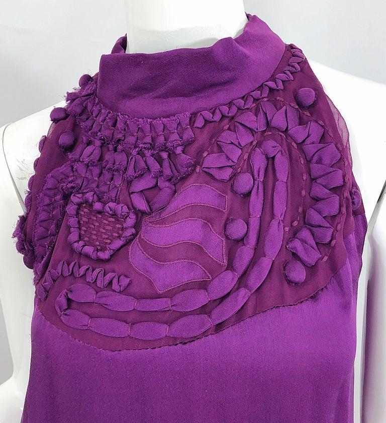Women's Yves Saint Laurent A / W 2007 Purple Silk Size 40 / US 8 YSL Rive Gauche Dress For Sale