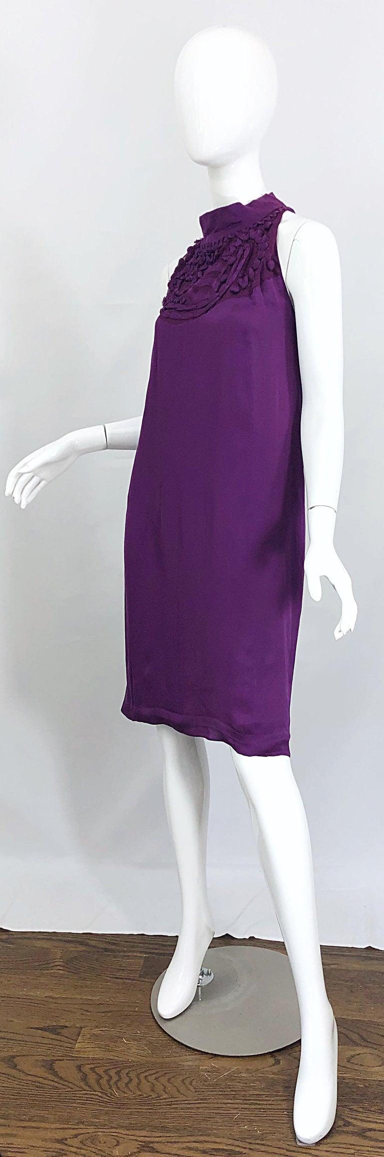 Yves Saint Laurent A / W 2007 Purple Silk Size 40 / US 8 YSL Rive Gauche Dress For Sale 1