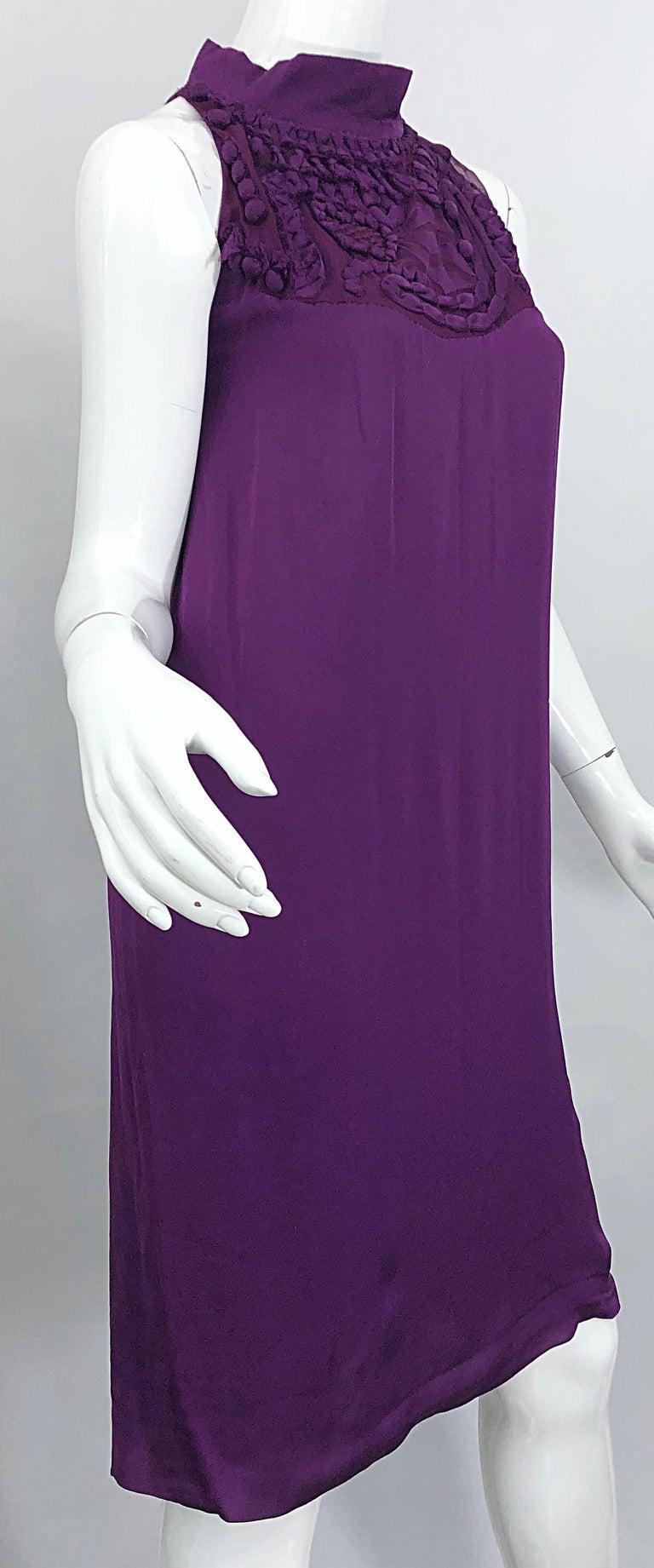 Yves Saint Laurent A / W 2007 Purple Silk Size 40 / US 8 YSL Rive Gauche Dress For Sale 2