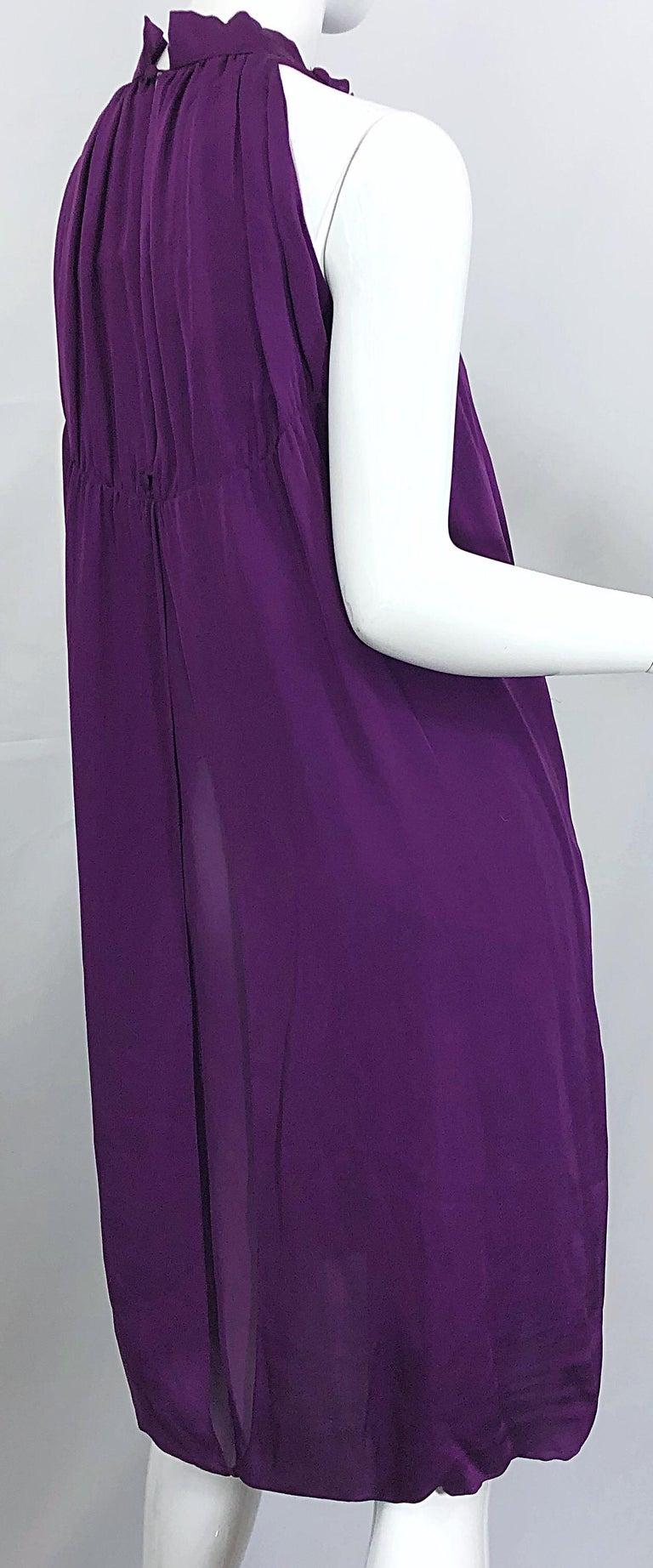 Yves Saint Laurent A / W 2007 Purple Silk Size 40 / US 8 YSL Rive Gauche Dress For Sale 3