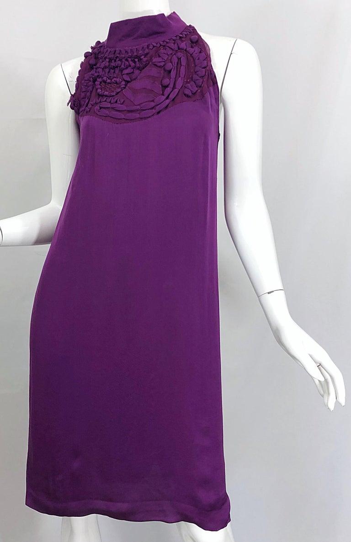 Yves Saint Laurent A / W 2007 Purple Silk Size 40 / US 8 YSL Rive Gauche Dress For Sale 4