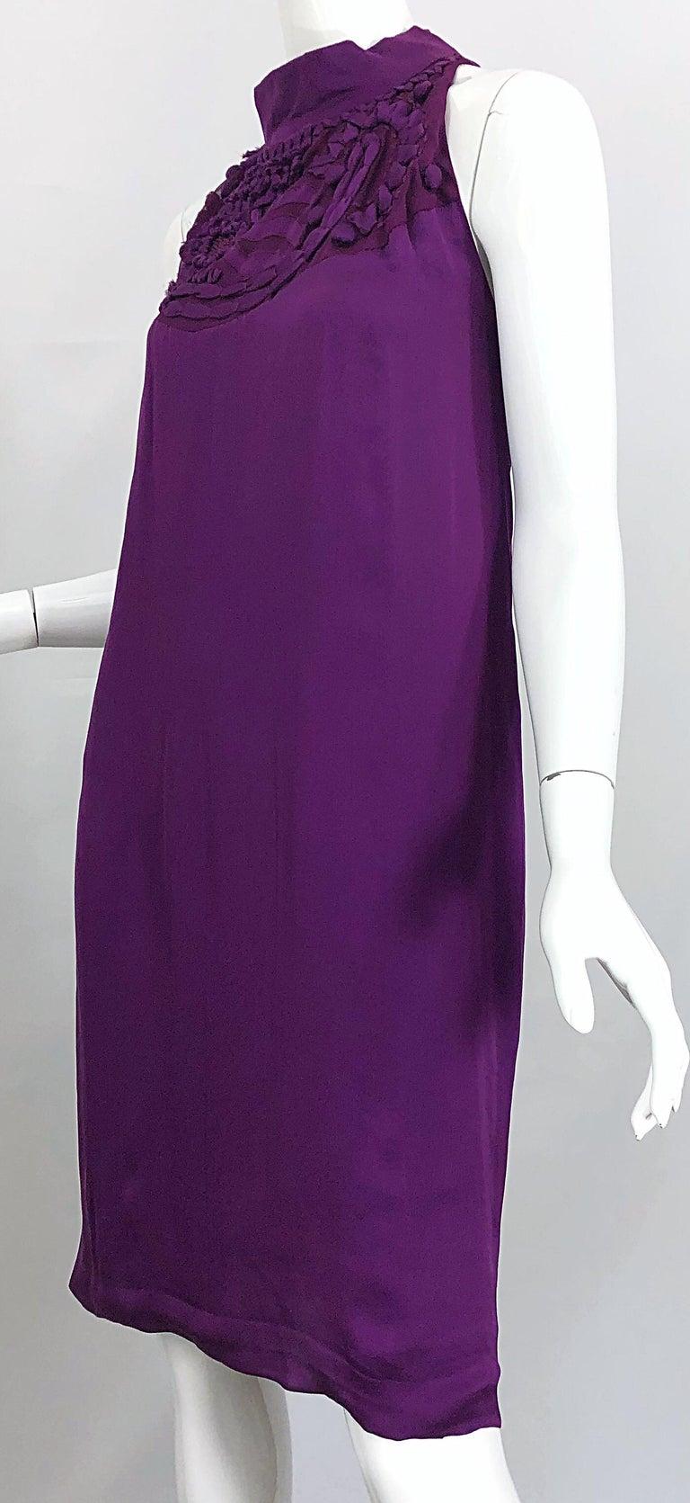 Yves Saint Laurent A / W 2007 Purple Silk Size 40 / US 8 YSL Rive Gauche Dress For Sale 5