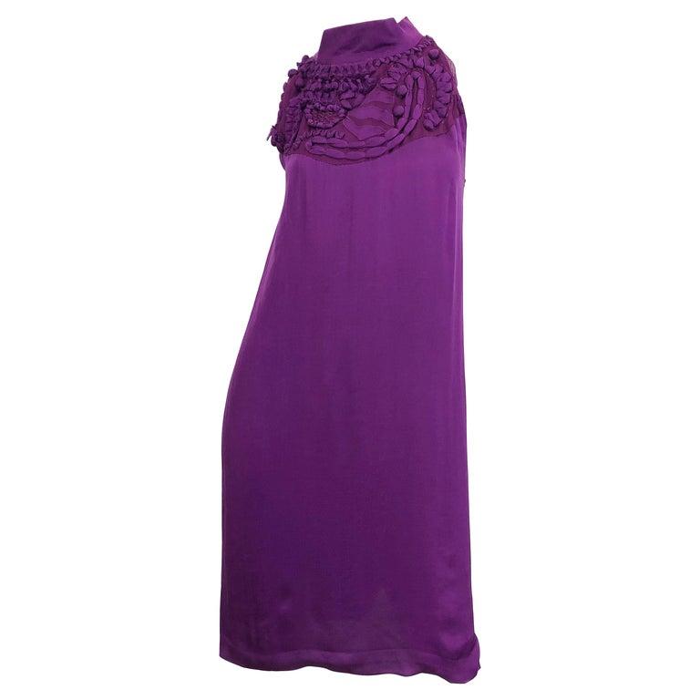 Yves Saint Laurent A / W 2007 Purple Silk Size 40 / US 8 YSL Rive Gauche Dress For Sale