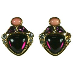 Yves Saint Laurent Amythest Clip Earrings