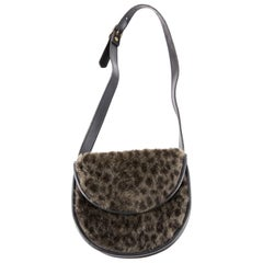 Yves Saint Laurent Animal Fake Fur and Black Leather Small Belt Bag